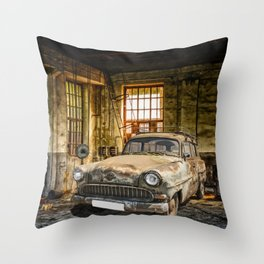 Old Car in a Garage Throw Pillow