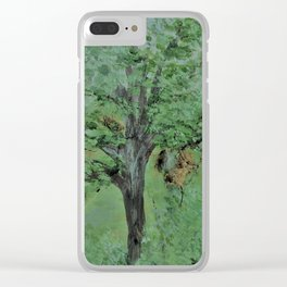 Palette Knife Tree on Wood Clear iPhone Case