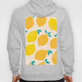 Tropical illustration pattern with yellow lemons. Fruit repeated background. Hoody