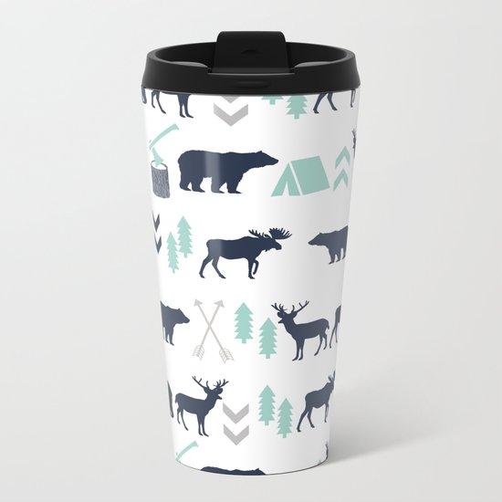 Camper pattern minimal nursery basic grey navy mint white camping cabin chalet decor Metal Travel Mug