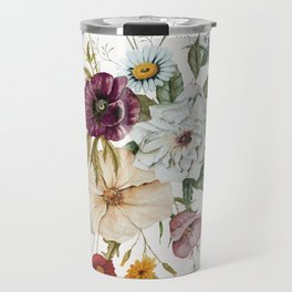Colorful Wildflower Bouquet on White Travel Mug