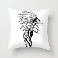headdress Throw Pillows featuring Headdress by Drigo