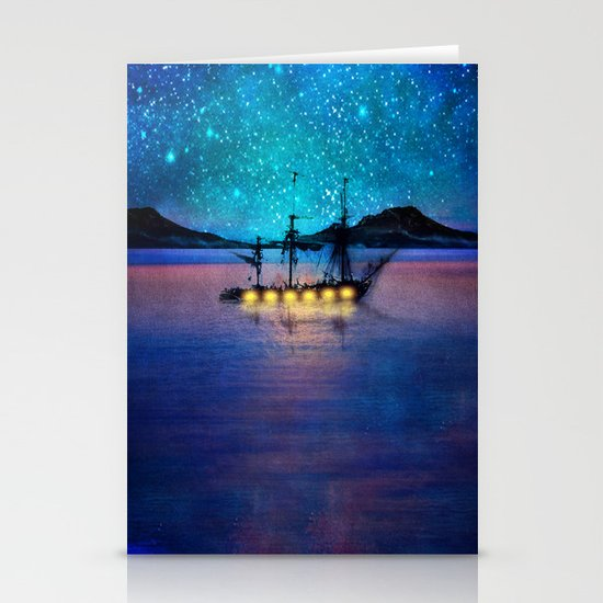 Ship in the lights Stationery Cards