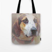 the hound Tote Bags featuring Hound dog by Doug McRae