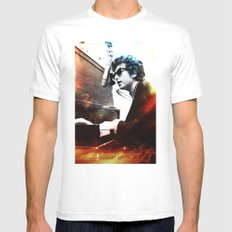 Bob Dylan White 2X-LARGE Mens Fitted Tee