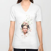 frida V-neck T-shirts featuring Frida by Tracie Andrews