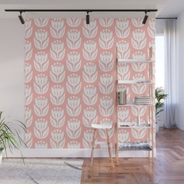 Mid Century Modern Flower Pattern Peach 333 Wall Mural