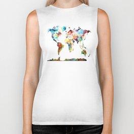World map Biker Tank