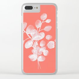 Eucalyptus Silver Dollar Living Coral Clear iPhone Case