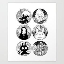 Ghibli Characters Art Print
