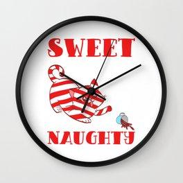 Sweet But Naughty Merry Christmas Happy New Year December 25 T-shirt Design Xmas Holidays Season Wall Clock