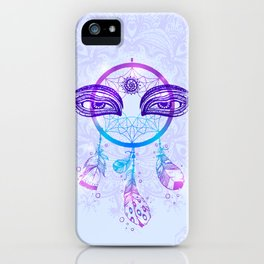 Hand drawn Native American Indian talisman dream catcher with bird's feathers.  iPhone Case