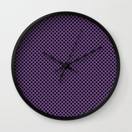 Royal Lilac and Black Polka Dots Wall Clock