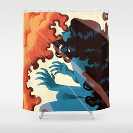 Illustration of a girl on fire Shower Curtain