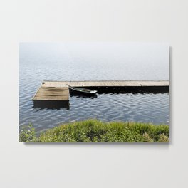 boat moored to old wood boardwalk Metal Print