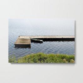 boat moored to old wood boardwalk Metal Print
