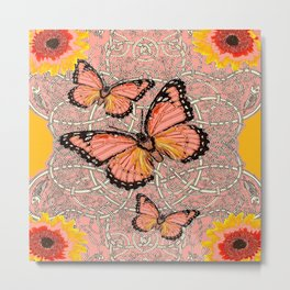 CORAL COLORED MONARCH BUTTERFLIES FANTASY ART Metal Print