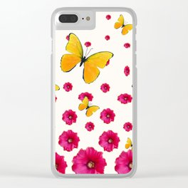 PINK HOLLYHOCKS & YELLOW BUTTERFLY LOVERS ART Clear iPhone Case