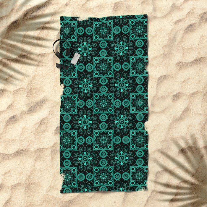 Turquoise and black pattern . Beach Towel