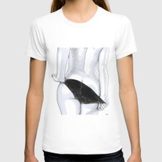 Night Bird X-LARGE Womens Fitted Tee White