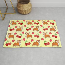 Cute happy playful funny puppy corgi dogs, red sweet summer strawberries and cherries bright sunny yellow fruity pattern design. Rug
