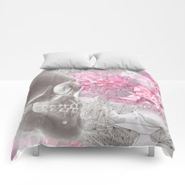Negative Of Skull And Peonies Comforters