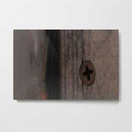 Rust Screw in Weathered Painted Door Metal Print