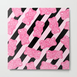 Jelly Beans & Gummy Bears Pattern - Pink and Black Metal Print
