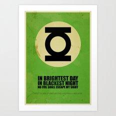 Green Lantern (Super Minimalist series) Art Print