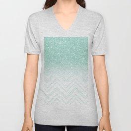 Faux teal glitter ombre modern chevron pattern Unisex V-Neck