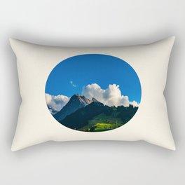 Green Mountain Valley Clouds & Blue Sky Rectangular Pillow