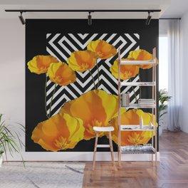 BLACK & WHITE CALIFORNIA YELLOW POPPIES ART Wall Mural