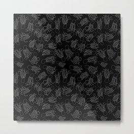Squids (Grey on Black) Metal Print