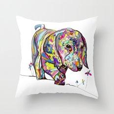 Rainbow Dappled Dachshund Painting Throw Pillow