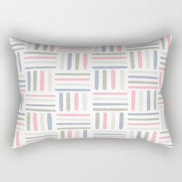 Linear Weave // Basket Weave Design in pastel colours, pink, white, grey, olive  Rectangular Pillow