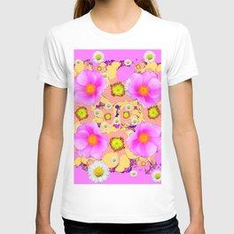 Pink Design & Pink Roses Shasta Daisies Art Abstract T-shirt