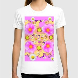 Pink Design & Pink Roses Shasta Daisies Art Abstract T-shirt