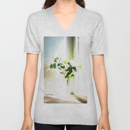 Vase of Flowers with shadows watercolor Unisex V-Neck