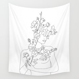 Minimal Line Art Woman with Wild Roses Wall Tapestry