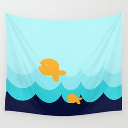Beach Series Aqua- Gold Fish Animals in the deep See Wall Tapestry