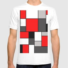 Red Black and Grey squares MEDIUM White Mens Fitted Tee