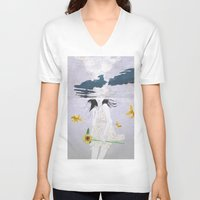 planet V-neck T-shirts featuring water planet by SEVENTRAPS