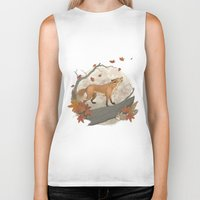rabbit Biker Tanks featuring Fox and rabbit by Laura Graves