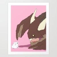 bunnies Art Prints featuring Bunnies by bloozen