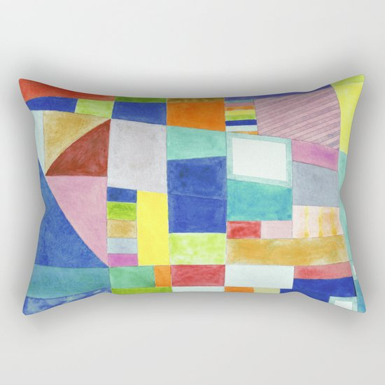 Colorful Abstract with Slantings and Windows Rectangular Pillow