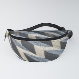 Play of light and shadow on wooden slats Fanny Pack