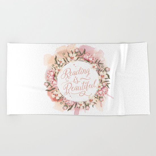 Reading is Beautiful floral wreath Beach Towel