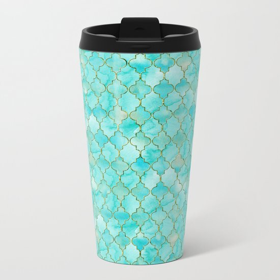 Luxury Aqua Teal and Gold oriental quatrefoil pattern Metal Travel Mug