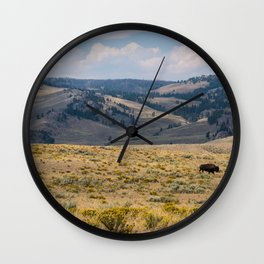 Yellowstone Bison Wall Clock