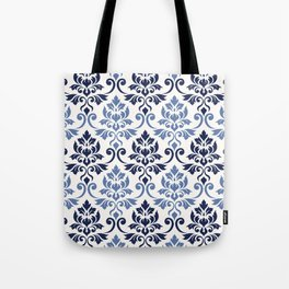 Feuille Damask Pattern Blues on Cream Tote Bag